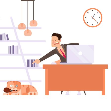Cat interfere remote worker, owner scold pet result vector illustration. Man character in suit sitting with laptop, pointing hand to guilty animal. Naughty cat distract nervous man at home.