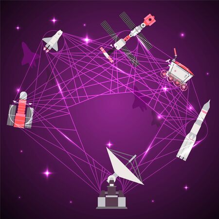 Satellite dish for communication with space devices result vector illustration. Information from earth to flying in orbit satellites, rocket, robot. Setting up flight and receiving report banner. Иллюстрация