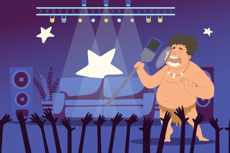 Cave people character sing to microphone in front audience vector illustration. Curly primeval man in loincloth with teeth necklace on neck, perform on stage. Famous caveman in studio, concerte.