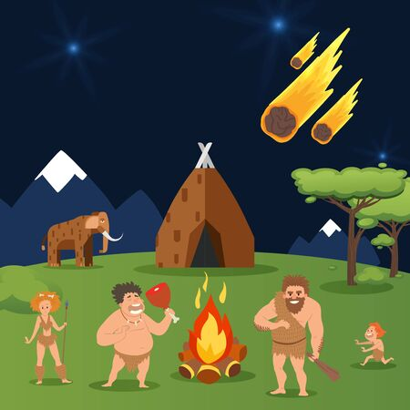 Cave family, asteroid fall at house primeval people group vector illustration. Men, woman and child near natural hot bonfire, fire for life. Large mammoth stand nearby family house.