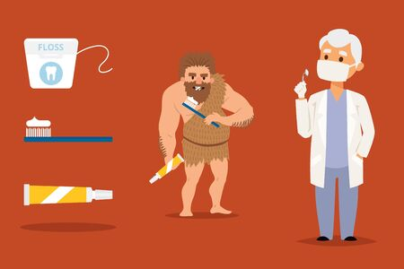 Cave man dental health doctor prevention, vector illustration. Dentist advice on teeth treatment, dental floss, proper brush and toothpaste. Teaching primeval barbarian to brush teeth, natural care.