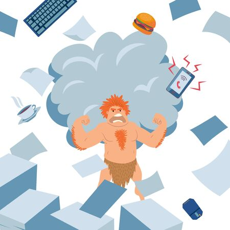 Cave man angry office worker vector illustration. Unassigned person to work, primitive instinct. Character guy with loincloth destroy workplace, keyboard, coffee, smartphone and snack fly to sides. 일러스트