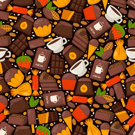Chocolate product pattern, cacao, coffe and cupcake, vector illustration. Sweets from tropical cocoa beans, ice cream, candy and strawberries in glaze. Texture component sweet pastries.