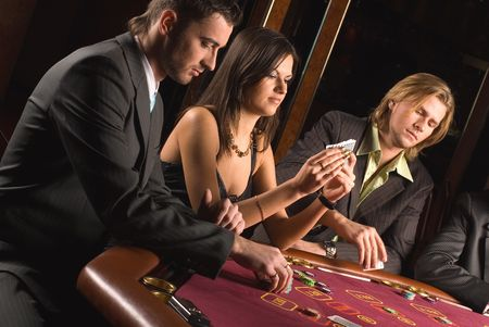 Young people have a good time in casino photo
