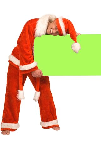 Young the man in cap Santa Claus on a white background photo