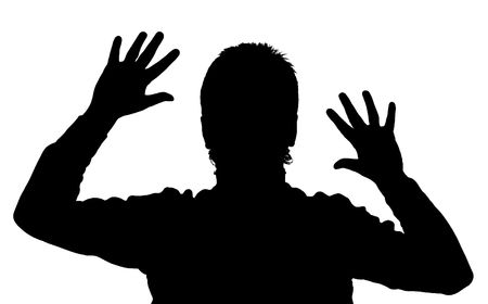expressing: Black silhouette of the man on a white background