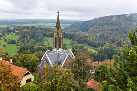 old town townhall: Dilsberg , Germany , view of the town hall in the background hills Stock Photo