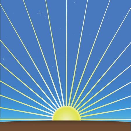 sol naciente: la salida del sol dom vector aumentando la luz del sol puesta de sol ilustraci�n rayo de sol de fondo