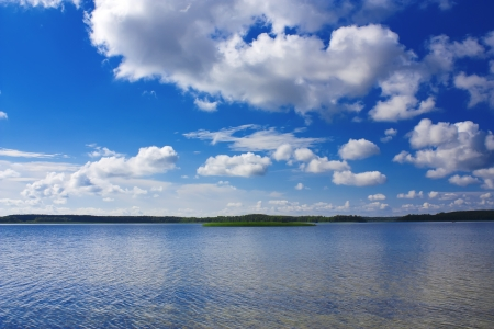 Braslav lakes clean lake and beautiful blue sky with clouds