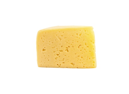 chees: A slice of cheese isolated on white