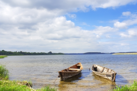 Landscape two boats on the lakes of Braslav Stock Photo - 14254427