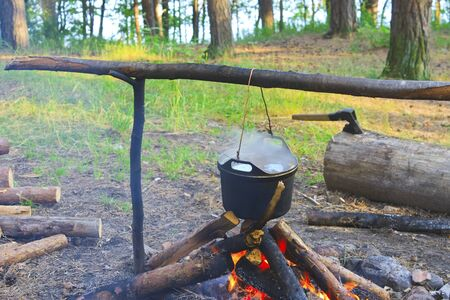 Cooking fish soup on the fire in the forest camp photo