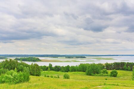 braslav: Braslav lakes view from the mountain landscape Stock Photo