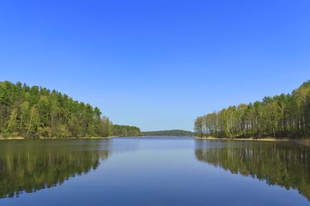 braslav: Beautiful lake in the woods on a background of blue sky