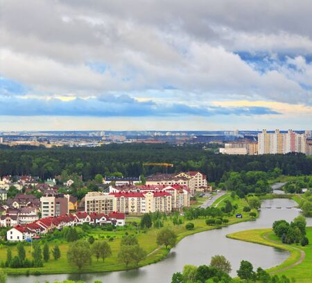 Luxury homes on the banks of the river Svisloch in Minsk Belarus photo