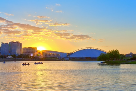 Sunset on the River in Minsk Belarus photo