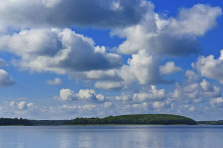 braslav: Braslav lakes clean lake and beautiful blue sky with clouds