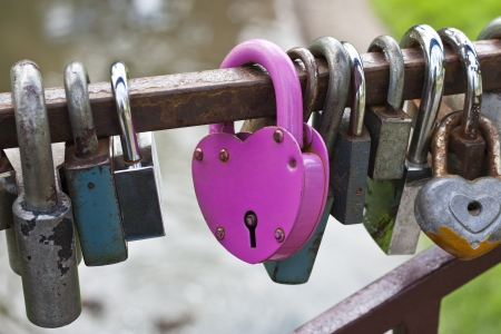 Pink heart-shaped lock between the other locks