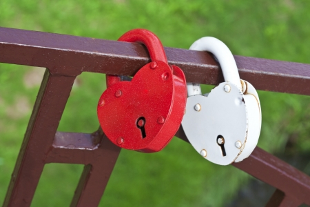 Two locks in the form of hearts photo