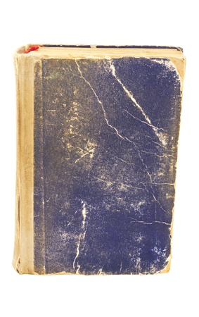 Old worn book with a blue cover, hard cover on a white background Stock Photo - 15643266
