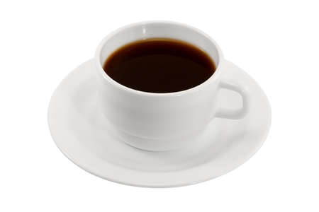 White cup of coffee on a saucer isolated on a white background