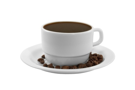 White cup of coffee with roasted coffee beans on a saucer isolated