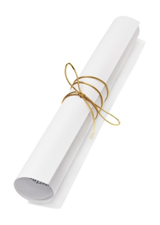 Rolled paper with golden ribbon isolated Stock Photo - 17378587