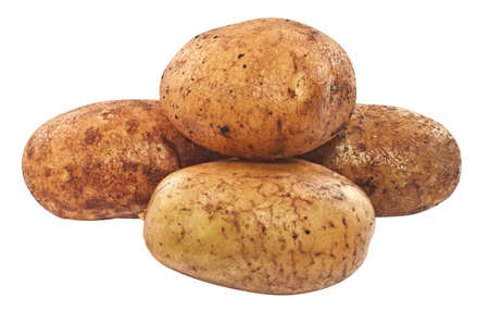 russet: Raw unpeeled potatoes closeup isolated on white background