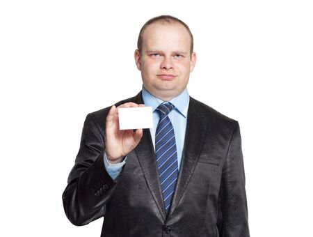 horisontal: A man holding a business card in his hand isolated horisontal
