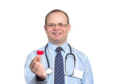 Doctor with stethoscope holding heart and smiling isolated on white background horizontal photo