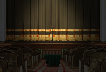 The auditorium and the scene in the theater with the lights off