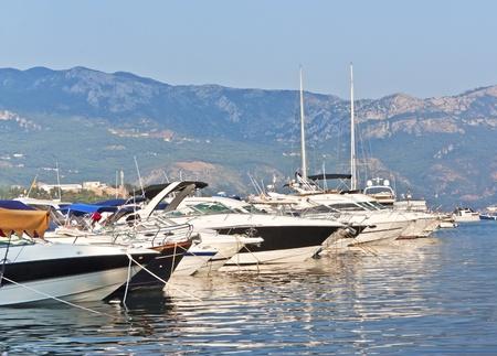 berth: Yachts and boats at berth in Budva