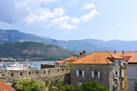 The roofs of medieval buildings in the old town of Budva