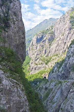 hill of tara: Tara river canyon in Montenegro mountainscape vertical Stock Photo