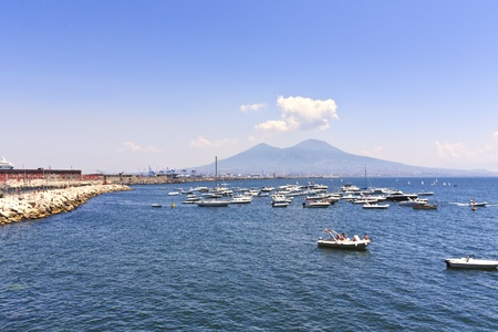 The volcano Vesuvius and Naples coast landscape