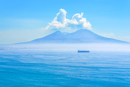 Nice view of the volcano Mount Vesuvius horisontal Stock Photo