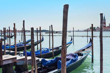horisontal: Gondolas in Venice lagoon horisontal Stock Photo