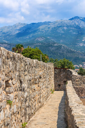 Fortress walls in the old town of Budva Montenegro