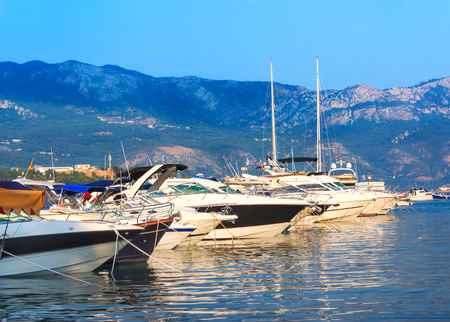 Beautiful yacht on the shore of the city of Budva Montenegro