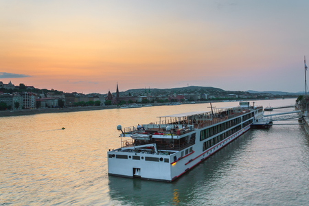 The ship sails on the Danube in Budapest at night photo