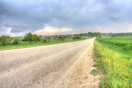 Dirt road to the village hdr photo