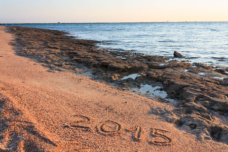 New Year 2015 written on the beach Red Sea Egypt photo