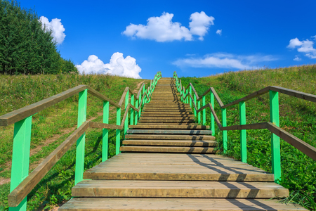 braslav: Long wooden stairway to heaven horizontal landscape