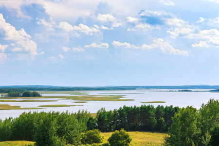 braslav: Braslav lakes view from the mountain Mayak in the daytime Stock Photo