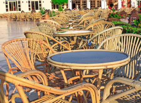sharm: Free tables in a cafe on the street in Sharm el Sheikh Editorial
