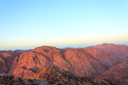 big bible: View of the Sinai mountains early in the morning