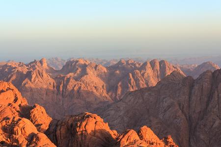 bible ten commandments: View of the Sinai mountains at dawn in Egypt Stock Photo