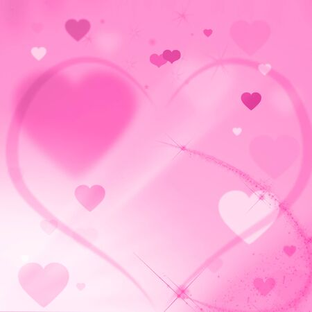 Colorful pink valentines card with hearts and shine