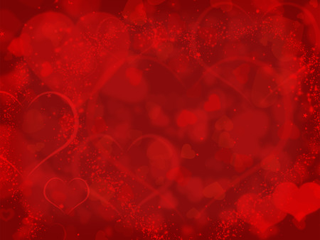 Red background with valentines hearts and copyspace