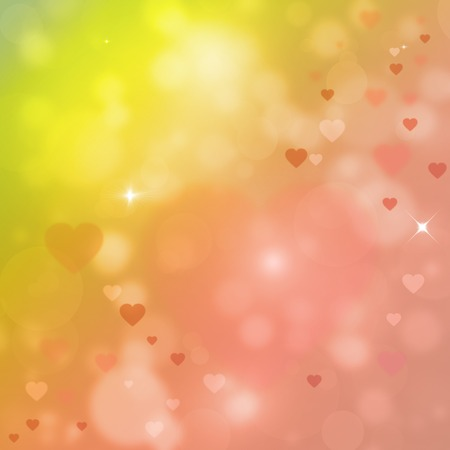 Colorful valentine illustration with hearts and bokeh effect